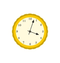 Wall clock with yellow rim icon flat style vector