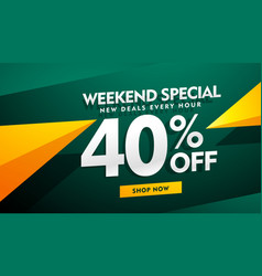 Weekend special sale banner design in green and vector