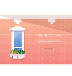 Window background facade red brick vector