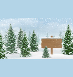 Winter forest wooden sign vector