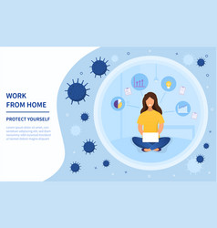 Woman working from home during covid-19 vector