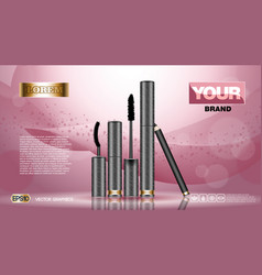 Cosmetic set ads template mascara and brow s gel vector
