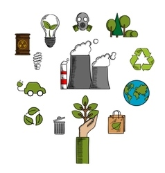 Environment and ecological conservation icons vector image vector image