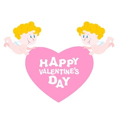 Happy Valentines day Two Angels and heart Symbol vector image vector image