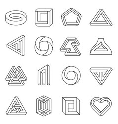 Impossible figures line art collection vector