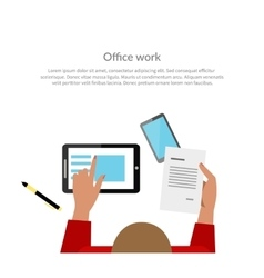 Office work top view banner design vector