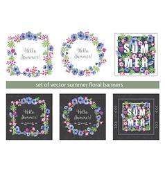 Set of floral summer greeting cards design vector