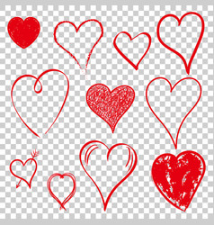 hearts icon set love hand drawn on isolated vector image