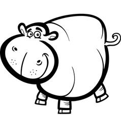 Hippo or Hippopotamus for coloring book vector image vector image