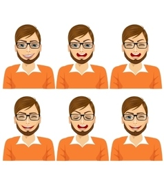 isolated set of male hipster avatar expressions vector image vector image