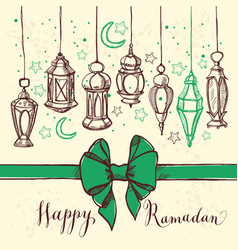 ramadan kareem with lantern and bow vector image vector image