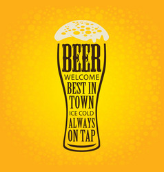 banner with glass of beer on a yellow background vector image vector image