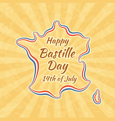 happy bastille day and 14th july greeting card vector image vector image