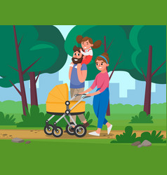 happy family walking in the park on background of vector image