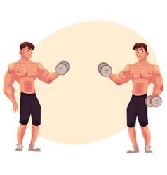man bodybuilder two variants of bicep workout vector image vector image