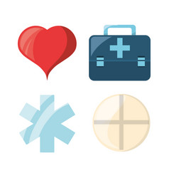 Set heart with emblem and drug with briefcase vector