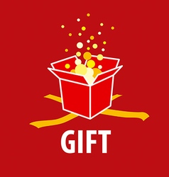 Abstract logo gift on a red background vector image