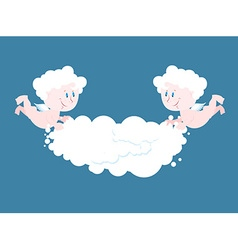 Angel and cloud Two little Angels keep cloud Place vector image