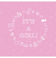 baby shower design over pink background with vector image