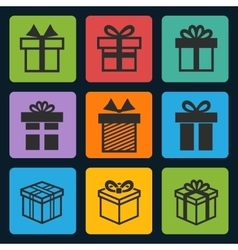 black gift box icons set vector image