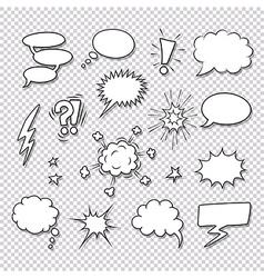 Comic speech bubbles and elements set vector image vector image