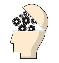 head human gear wheel engineer vector image