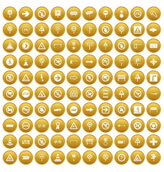 100 road signs icons set gold vector