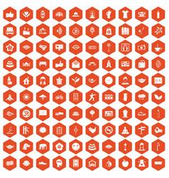 100 yoga studio icons hexagon orange vector