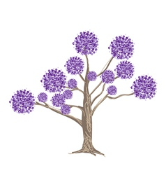 Abstract Purple Flowers on Tree vector image
