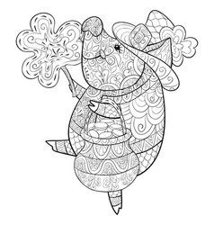 Adult coloring bookpage a cute pig wearing a vector