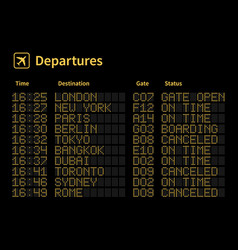 airport led board aircrafts departures vector image