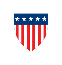 american flag badge shield with stripes and stars vector image
