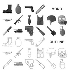 Army and armament monochrom icons in set vector