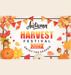 Autumn harvest festival banner vector
