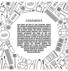 Banner circle make up and cosmetics set vector image