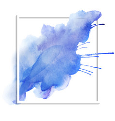 Beautiful blue watercolor texture on a white vector