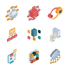 Big data analysis icons vector image