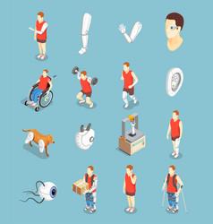 Bionics technology isometric icons vector