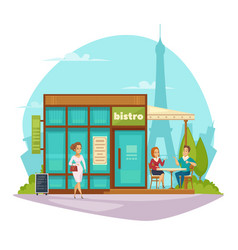 Bistro cafe terrace flat composition vector