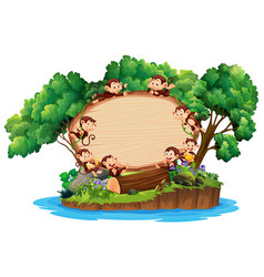 border template with many monkeys on island vector image