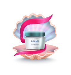 Brand face cream in shell vector