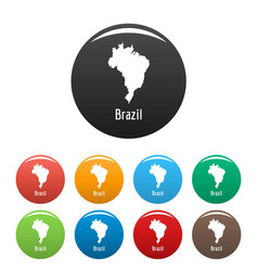 brazil map in black set simple vector image