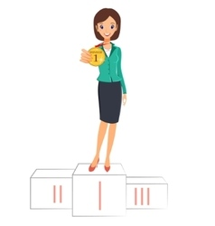 Business woman winner standing on podium with vector image