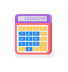 calculator with numbers and solving isolated icon vector image