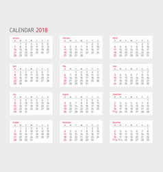 calendar 2018 year template starts sunday vector image