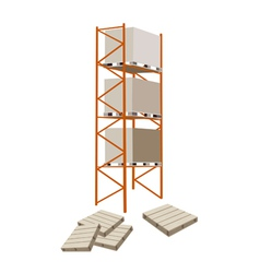 Cargo Shelf With Shipping Box and Pallet vector image