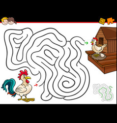 Cartoon maze activity with rooster and hen vector