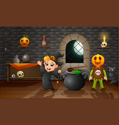 Cartoon of little witch and pumpkin mask vector