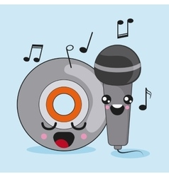 cd and microphone icon Kawaii and technology vector image