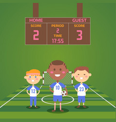 children playing football on field boys team vector image